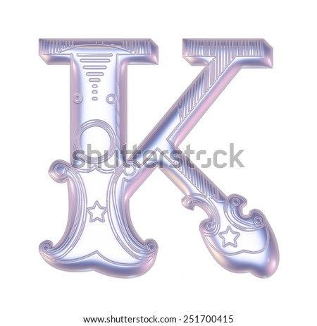 Retro vintage illustration of alphabet letter in caps, K in the antique design on isolated white. - stock photo