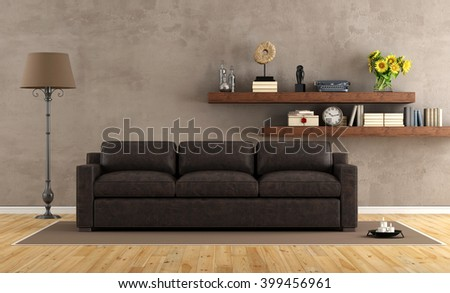 Retro vintage living room with leather sofa and wooden shelf - 3d rendering - stock photo