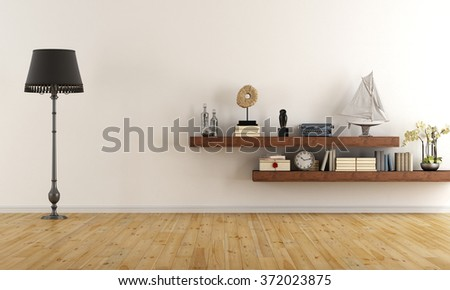 Retro vintage living room with  wooden shelves with books and decor objects - 3D Rendering - stock photo