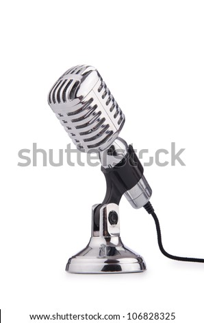 Retro vintage microphone isolated on white - stock photo