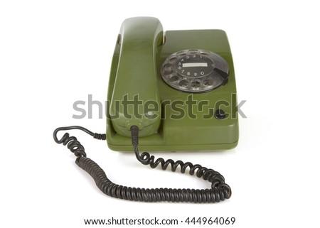 Retro vintage phone isolated on white background - stock photo