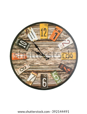 Retro, vintage rectangular clocks isolated on white - stock photo