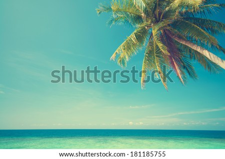 Retro vintage style summer sea view with coconut tree at Perhentian island, Malaysia - stock photo