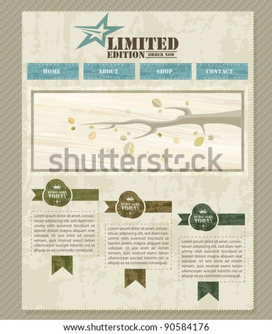 Retro Vintage Styled Website Template - stock photo
