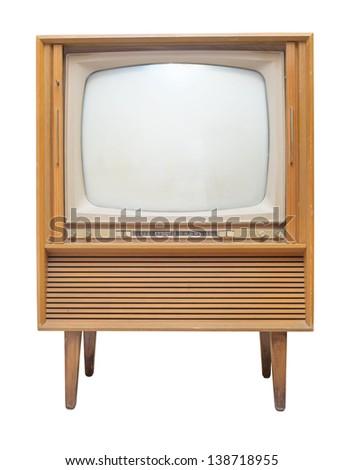 Retro Vintage television on a white background - stock photo