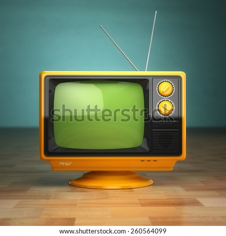 Retro vintage tv on green background. Television concept. 3d