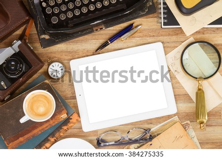retro vintage typewriter  with supplies on working table with copy space, top view - stock photo
