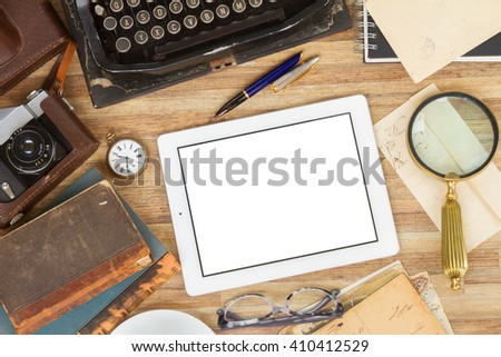 retro vintage typewriter  with tablet on working table with copy space, top view - stock photo