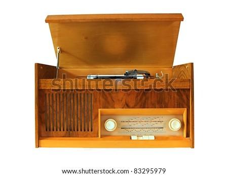 Retro vinyl gramophone. - stock photo