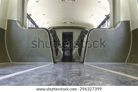 Retro wagon train interior in green tone. Horizontal - stock photo