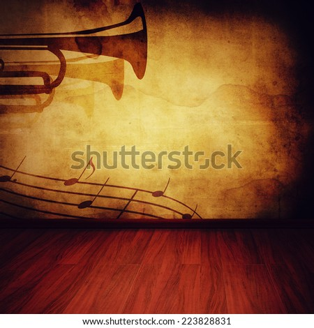 retro wall and wooden floor - stock photo