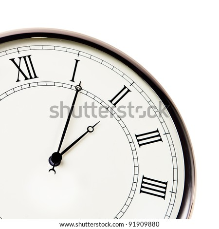 Retro watch with roman digits closeup isolated over white background. - stock photo