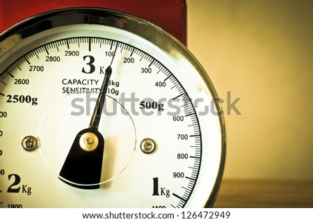 Retro weighing scales - stock photo