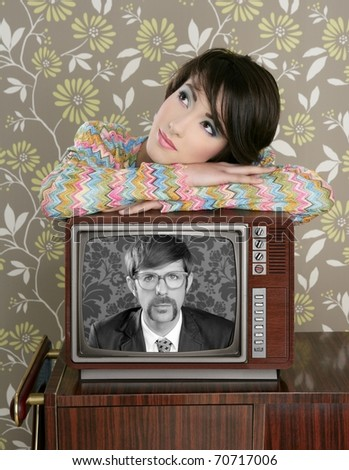 retro woman in love with tv nerd mustache hero vintage 60s wallpaper [Photo Illustration]