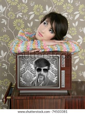 retro woman in love with tv nerd mustache hero vintage 60s wallpaper [Photo Illustration] - stock photo