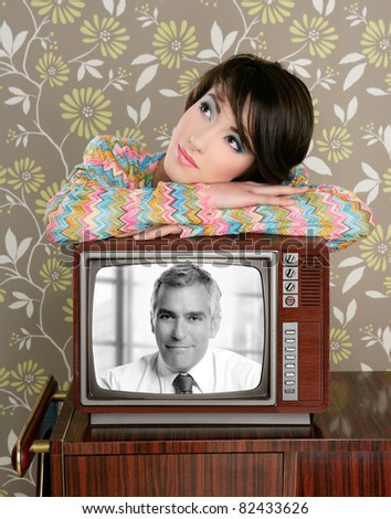 retro woman in love with tv senior handsome hero vintage 60s wallpaper  [Photo Illustration] - stock photo