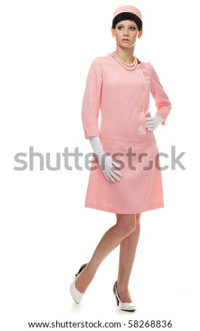retro woman in pink dress 60s over white background