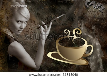 Retro woman on background with cup of coffee