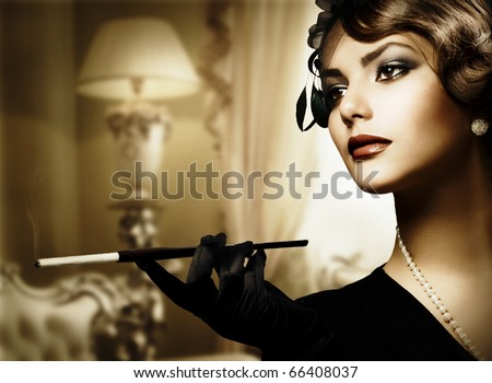 Retro Woman Portrait in Classic Interior - stock photo