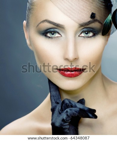 Retro Woman Portrait.Woman's Face - stock photo