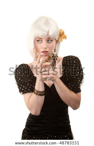 Retro woman with white hair in 80s or 90s style