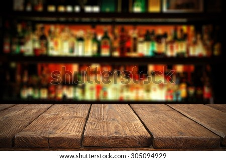 retro wooden brown table place of shabby chic and bar  - stock photo