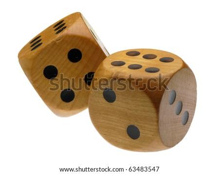 Retro wooden dice (double 6) - stock photo