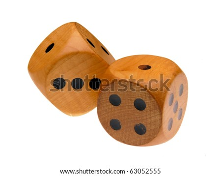 Retro wooden dice (one and rolling one) - stock photo