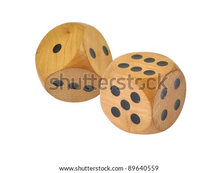 Retro wooden dice, six and one - stock photo