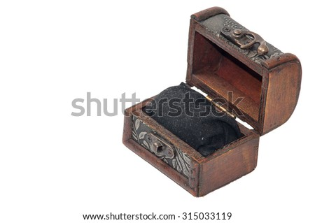 Retro wooden opened chest.