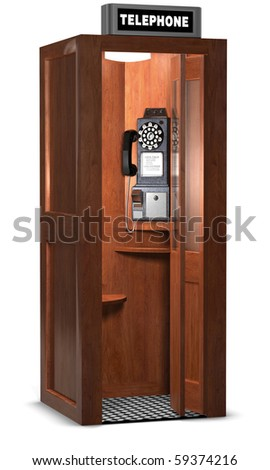 Retro wooden phone booth isolated on white with a clipping path - stock photo