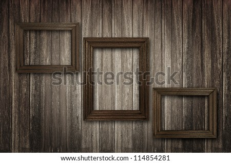 Retro wooden picture frames - stock photo