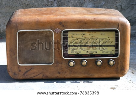 Retro wooden radio receiver 1940 - 1950