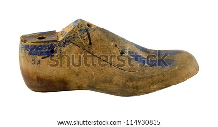 Retro wooden shoe produce make mold mould form shape used by cobblers isolated on white. - stock photo
