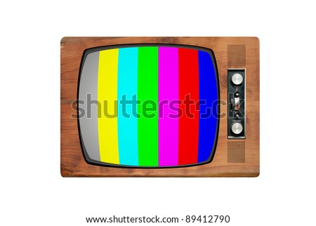 Retro wooden TV isolated on white with test pattern on the screen - stock photo