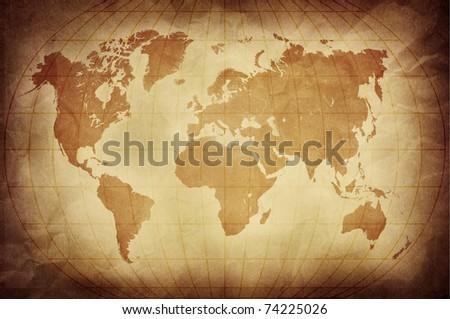 retro world map - stock photo