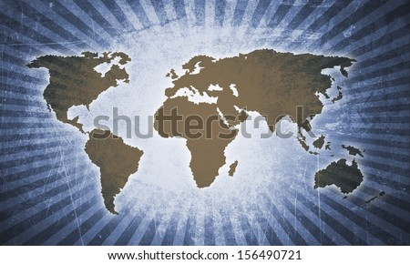 retro world map in design - stock photo