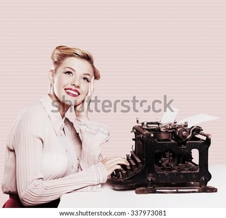 Retro writer. - stock photo