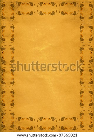Retro yellow flower border on old paper