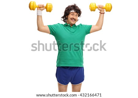 Retro young guy exercising with two yellow dumbbells and looking at the camera isolated on white background - stock photo