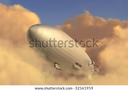 Retro zeppelin modeled after the Hindenburg emerging from a cloud bank in the late afternoon - stock photo