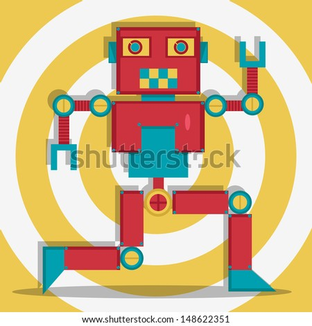 Retrobot Illustration - stock photo