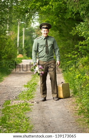 Return of the Soldier home - stock photo