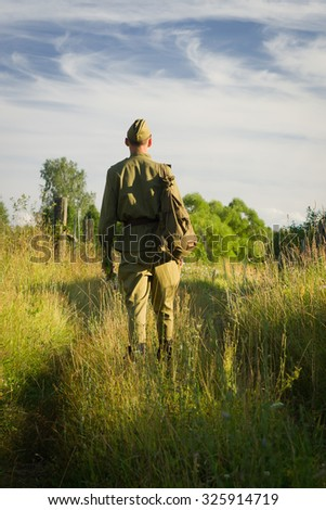 Return of the Soviet soldier in uniform of World War II home