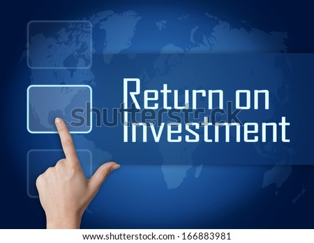 Return on Investment concept with interface and world map on blue background - stock photo