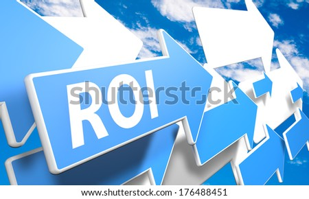 Return on Investment 3d render concept with blue and white arrows flying upwards in a blue sky with clouds - stock photo