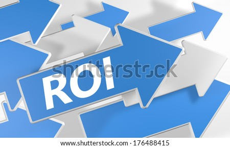 Return on investment 3d render concept with blue and white arrows flying upwards over a white background. - stock photo