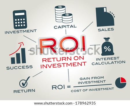 Return on investment (ROI) is the concept of an investment of some resource yielding a benefit to the investor. Chart with icons and keywords - stock photo