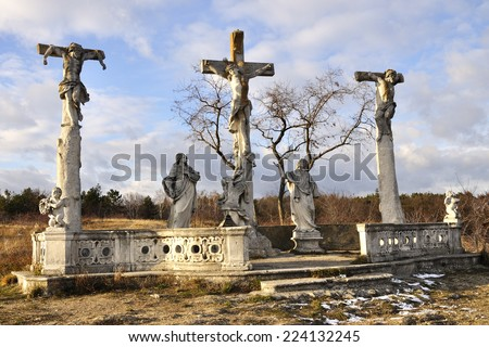 RETZ, AUSTRIA - DECEMBER 7, 2013: The end way of the Cross (three crosses). December 7, 2013 in Austria - stock photo