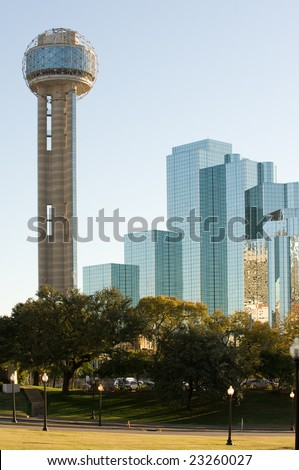 Reunion tower and modern hotel in downtown Dallas, TX - stock photo